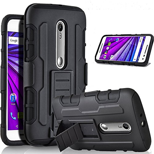 Ziaon Robot Case Black Rugged Impact Armor Kickstand Cover With Belt Clip Holster Case For Motorola Moto G3/ Moto G Turbo Edition