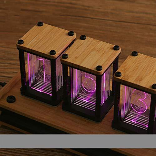 FENGCLOCK Retro Holz DIY Uhrensatz Kit, LED Desktop kreative Dekoration, RGB Pseudo Glühen Tube Uhr, Helligkeitsanpassung, Mehrere Beleuchtungsmodi Ticken, Geschenk -