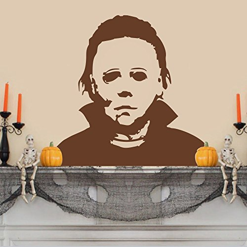 Michael Myers Vinyl Wandtattoo Halloween Wand Aufkleber schrecklichen Wall Decor Graphic Home Art DEKORATION, Vinyl, braun, 45