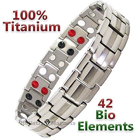 Mens TITANIUM Magnetic Bracelets-ALL SIZES-Negative Ion Balance Bracelet Golf Gifts