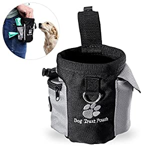 UEETEK Traiter chien taille pochette sac mains libres Pet dressage de chiens taille de sac de nourriture avec distributeur de sac de merde intégré