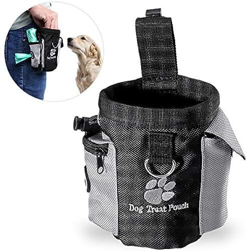 regalos tus mascotas mas kawaii UEETEK Perro tratamiento de cintura bolsa bolso manos libre mascota perro entrenamiento alimentos bolsa de cintura con dispensador de bolsa caca incorporada