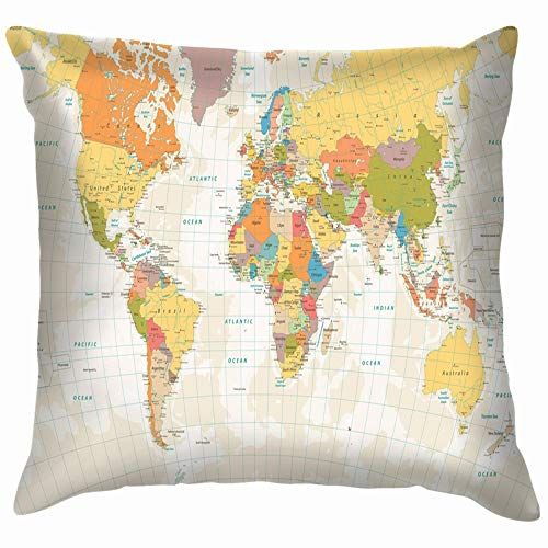 World Map Lakes Rivers Business Finance Funny Square Throw Pillow Cases Cushion Cover for Bedroom Living Room Decorative 18X18 Inch ()