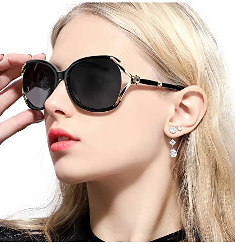 FIMILU Damen Klassische Übergröße Polarisierte Sonnenbrillen Elegante Mode Strass Design für das Fahren Einkaufen (Shwarz)