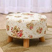 Ludage Tela madera maciza grande redondo Taburete bajo cambio zapatos tamaño del taburete: los 46 * 26cm - Muebles de Dormitorio precios