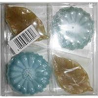 Confezione regalo di 4Bagno Candele Galleggianti, colore: blu e giallo fiori -