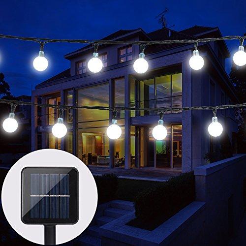 BAOANT Solar Lichterkette Garten Globe Außen mit LED Kugel 6m 30er LED 2 Modi Kaltweiß Außenlichterkette Wasserdicht Beleuchtung für Weihnachten - Boden-fan Cm 20