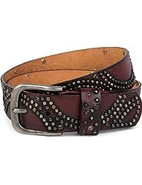 styleBREAKER Vintage Nietengürtel mit glitzerndem Strass und Nieten in runder Anordnung, Damen 03010066