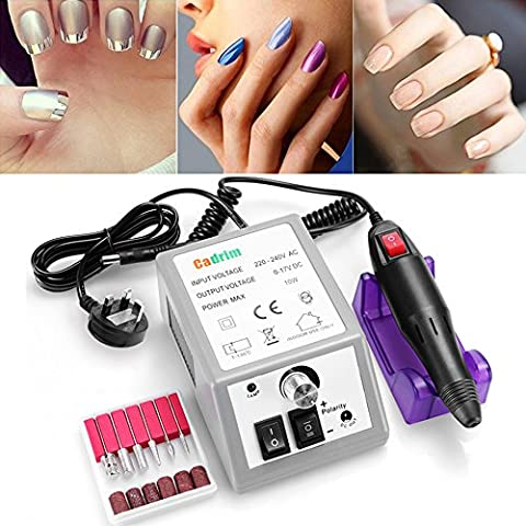 Cadrim Electric Nail Drill Professional Nail Art Machine Manicure Pedicure Drill Kit Portable Electronic Acrylic Nail File