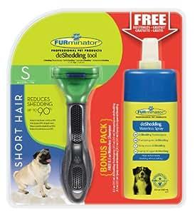 FURminator deShedding-Pflegewerkzeug für kurzhaarige kleine Hunde, Größe S mit Gratis Anti-Haaren Trockenspray