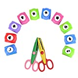 Shineus 10PCS Paper Craft Punch Mini Handmade perforatrice per DIY Festival Documenti e Biglietti d' Auguri con 2PCS Forbici