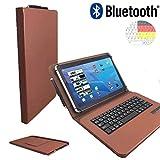 NEW | Bluetooth QWERTZ Tastatur für Sony Xperia Tablet Z2 SGP512 Schutz Hülle Etui mit Standfunktion - 10.1 Zoll Braun Bluetooth