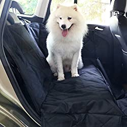 Travel Inspira - Funda de asiento de coche para mascotas, con cinturón para mascotas como bonus, impermeable con refuerzo antideslizante, anclajes de seguridad y solapas laterales para coches, camiones y SUV (137 x 147 cm)