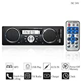 Hi-azul Autoradio, 1 Din In-Dash Car Stereo DC 24V Car Radio Aux Audio Player Ursprüngliches Bluetooth, FM Radio, IR-Fernbedienung, USB/SD, MP3 Player (für 24V Fahrzeuge)