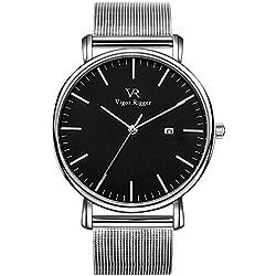 Vigor Rigger Women Watches Montre Classique Moderne à Quartz Noir avec Montre pour Homme, avec Calendrier à Date en Argent et Bracelet en Acier Inoxydable argenté