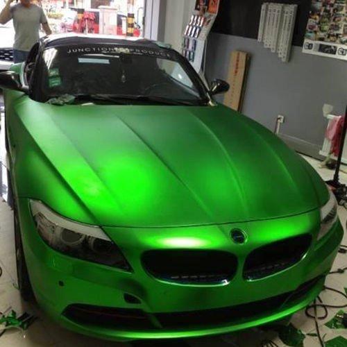3D Chrom Matt Metallic GRÜN mit Luftkanälen ,Car Wrapping, Profi Folie Musterstück 10x10