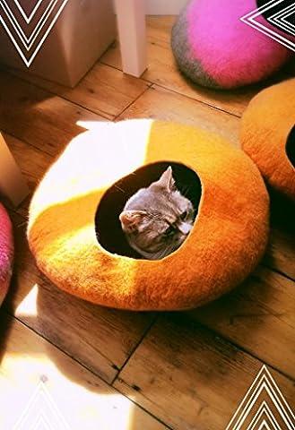 Orange Hand Felted Cat Cave / Cat House