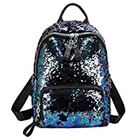 Sonnena Girls Womens Glitter Backpack School Bags Sequin Bling Travel Rucksack Casual Book Bags Satchel Daypack for Teenagers Ladies Blue