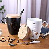 MHFD Tasse en céramique avec Tasse Double en Noir et Blanc Life Couple Cup avec cuillère Couverture Matte 400-500ML, A