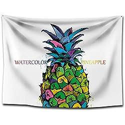 MAFYU Tapices de calidad Acuarela piña impresión tapiz poliester colgante paño sentado toalla de playa de manta casa colgante pintura decorativ Mantel de E