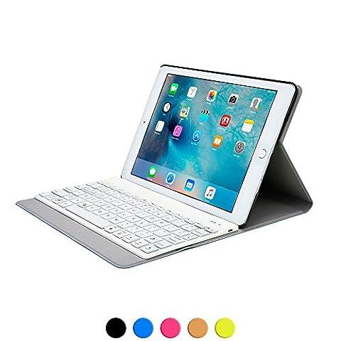 iPad Air 2 Tastaturhülle, COOPER AURORA FOLIO abnehmbare QWERTY-Funktastatur, Bluetooth, Hintergrundbeleuchtung, tragbare Schutzhülle mit Standfunktion für Apple iPad Air 2
