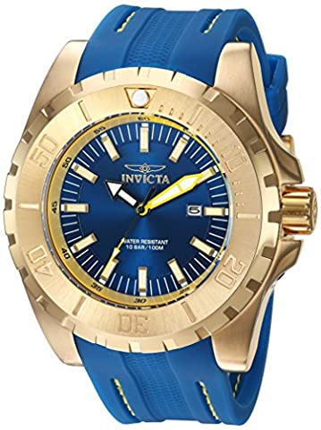 Invicta Men's 'Pro Diver' Quartz Stainless Steel and Polyurethane Casual Watch, Color:Blue (Model:
