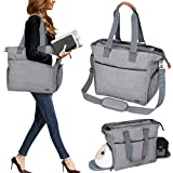 Luxja Breast Pump Tote with Pockets for Laptop and Cooler Bag, Breast Pump Bag for Working Mothers (Fits Most Major Breast Pump), Grey
