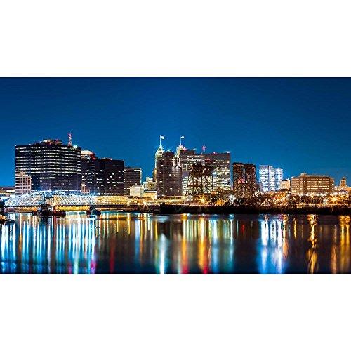 Pitaara Box Jackson Street Bridge & Passaic River, New Jersey Usa Peel & Stick Vinyl Wall Sticker 57.4 X 32.3Inch -