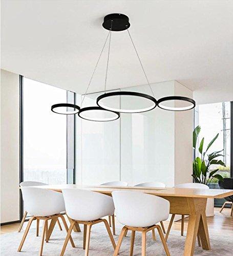 LED Pendelleuchte Modern 4 Ring Design Hängeleuchte Wohnzimmer Hängelampe Esstischleuchte Decke Beleuchtung Leuchte Auminium und Kieselgel Lampe 60W, Schwarz 95cm*50cm Weißes Licht