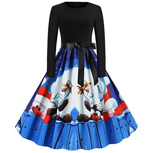 Donne 1950 Audrey Hepbun Vintage con Allacciatura al Collo di Polka Dots Cocktail Vestito Vestito Casual da Donna con Maniche Corte a Maniche Lunghe con Stampa Floreale a Maniche Lunghe