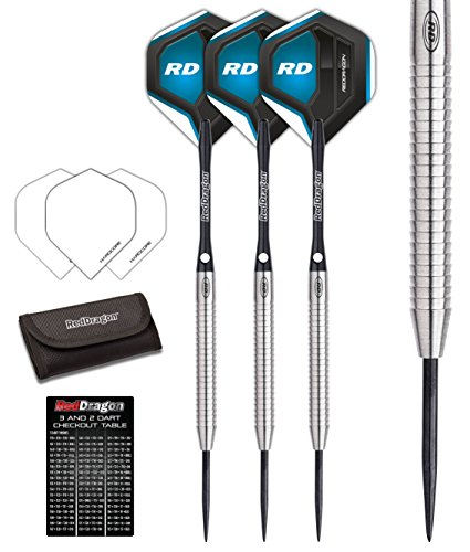 Red Dragon Razor Edge 1: 21g - 85% Tungsten Darts (Steel Dartpfeile) mit Flights, Schäfte, Brieftasche & Red Dragon Checkout Card