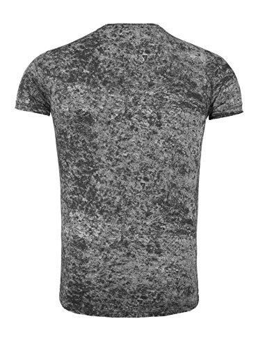 Carisma Herren T-Shirt BONROE Vintage Look Batik Style Lang geschnitten Sommershirt Schwarz