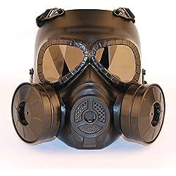 haoYK Tactical Dummy Anti Brouillard Masque à gaz avec Double Ventilateur Airsoft Paintbal Protection Gear Lunettes de Soleil, Noir