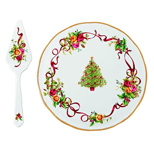 royal-albert-old-country-roses-christmas-tree-low-cake-plate-and-server-by-royal-albert