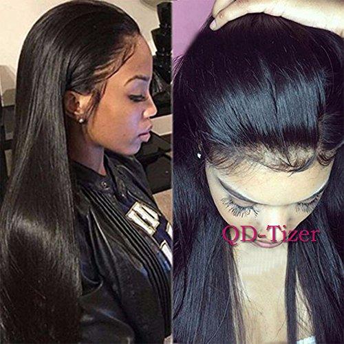 QD-Tizer Perücke, langes schwarzes Haar, synthetisch, ohne Kleber, gerade, hitzebeständig für Frauen, 24 (Kleber 24)