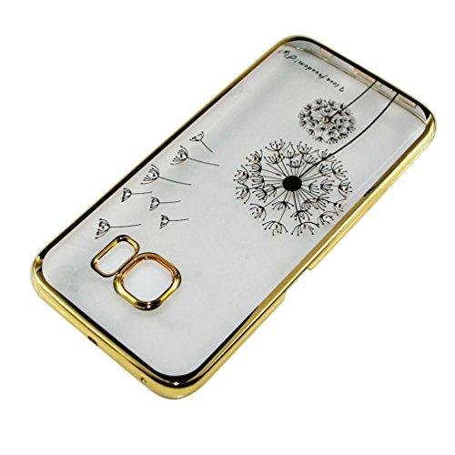iPhone 5 Hülle,iPhone 5S Hülle,iPhone SE Hülle,EMAXELERS Hard PC Case Phone Holster Transparent Handy-Tasche Hülle für Apple iPhone 5/5S/SE Hülle Löwenzahn Pattern Etui Schlank Fest Hülle Diamond Blin Gold-Löwenzahn