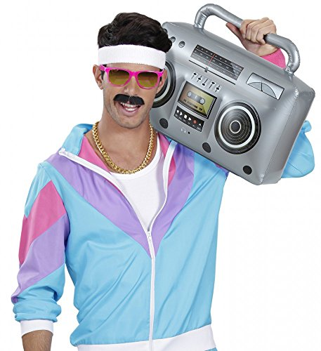 shoperama 80er Jahre Retro Ghettoblaster 50 cm Kofferradio aufblasbar Radio Hiphop Radiorekorder