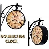 Home Sparkle Vintage Style Double-Sided Mild Steel Station Clock (14 cm x 14 cm x 25 cm, Black)