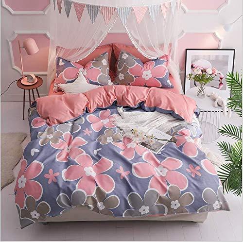 Geometrisch Bedruckte Bettdecke Set Cartoon Bettbezug Bettwäsche und Kissenbezüge Tröster Bettwäsche Set Hell Lila 150X200Cm (Hell-lila-bettdecke)
