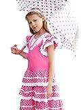 La Senorita Vestido Flamenco Español Traje de Flamenca chica/niños rosa blanco