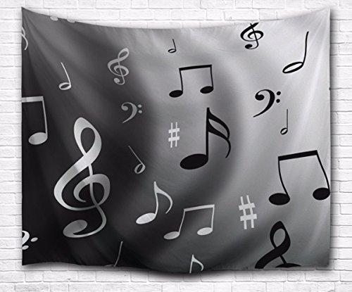 """A.Monamour Fondo Gris Negro Musical Melodía Imprimir Amante De La Música Tema Tela Textil Decoración De Pared Pared Colgando Tapices Para Niños Niños Niñas Dormitorio 153X229Cm / 60 """"X90"""""""