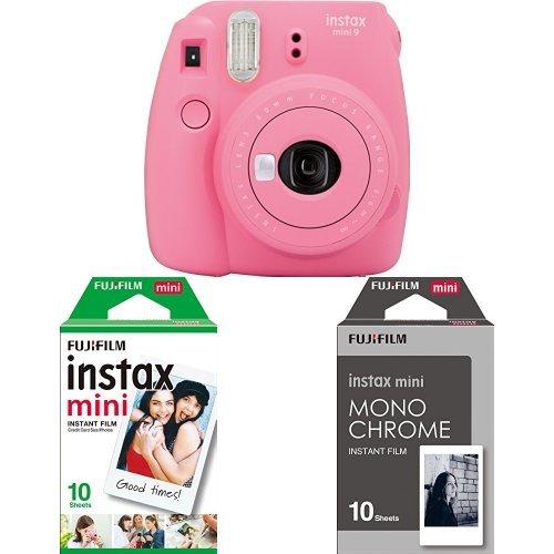 Fujifilm - Instax Mini 9 - rose - appareil seul + 1x10 Films + 1x10 films monochrome