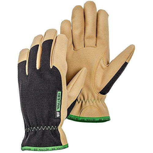 Hestra Work Gloves: Multi-Use Kobalt Leather Gloves, Black/Tan, 12