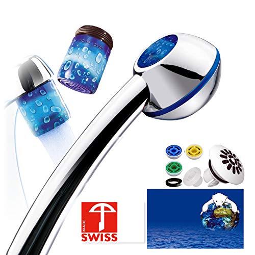 Duschkopf SwissClima SILVER-RAINDROPS HOME. Rundumpaket f. Bad+Küche: Sportstrahl, Regenstrahlaufsatz, 3 Duschregler, 2 assortierte Design-Perlstrahler f.Standardhähne 6 l/min (statt ~12 l),SwissMade (Aqua-durchlauferhitzer)