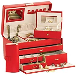 Duchess - Joyero de cuero con accesorio para viajes y manta para joyas incluidas, color rojo
