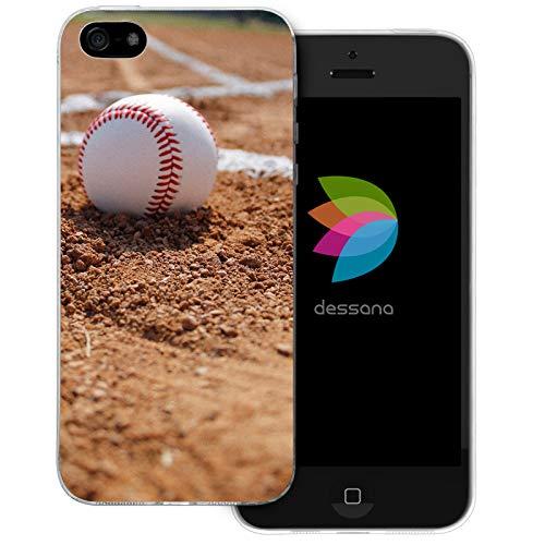 dessana Baseball Transparente Schutzhülle Handy Case Cover Tasche für Apple iPhone 5/5S/SE Pitcher Ball Mlb Baseball-handy