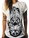 Nlife Damenmode Indien Namaste Buddha Tribe Print Kurzarm Baumwolle Top T-Shirt T-Shirt