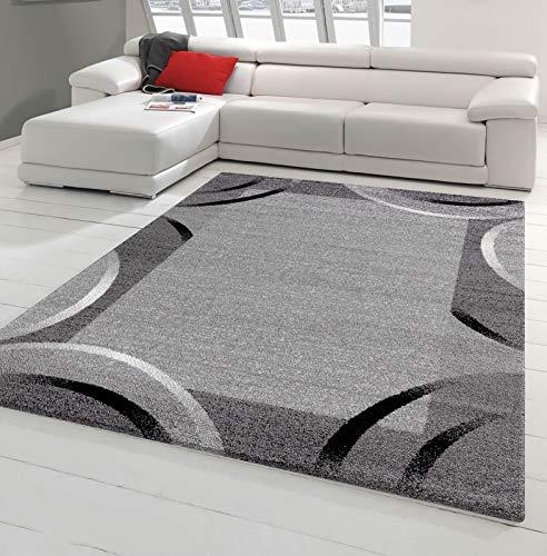 Tapis de Salon Santana Gris, Noir, Blanc Motifs arcs (160 x 220 cm)