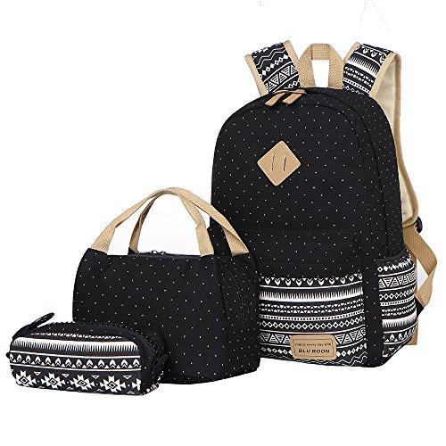 Imagen de bluboon  lona mujer  escolar casual para chicas backpack for girls 3pcs negro 03  alternativa