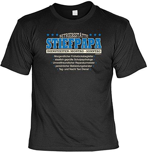 Stiefpapa T-Shirt: Betriebsstätte STIEFPAPA, Schwarz, ein liebevolles Mitbringsel für den neuen Mann von Mama Schwarz